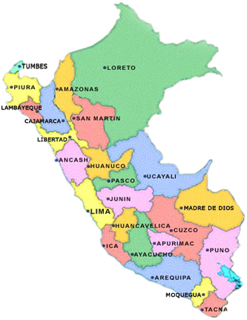 mapa departamental peru