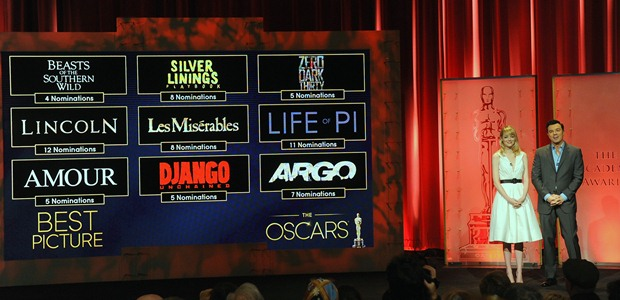 announce the nominees at the 85th Academy Awards Nominations Announcement at the AMPAS Samuel Goldwyn Theater on January 10, 2013 in Beverly Hills, California.